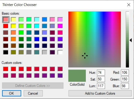 Tkinter Color Chooser